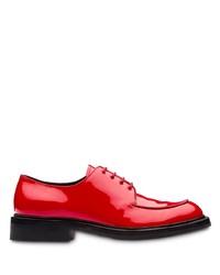 Zapatos derby de cuero rojos de Prada