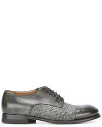 Zapatos derby de cuero tejidos grises de Silvano Sassetti