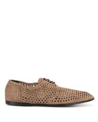 Zapatos derby de cuero tejidos marrón claro de Dolce & Gabbana