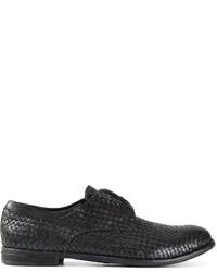 Zapatos derby de cuero tejidos negros