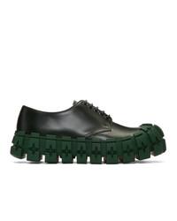 Zapatos derby de cuero verde oscuro de Prada