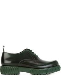 Zapatos derby de cuero verde oscuro de Valentino