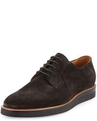 Zapatos oxford de ante en gris oscuro