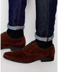 Zapatos oxford de ante en marrón oscuro de Asos