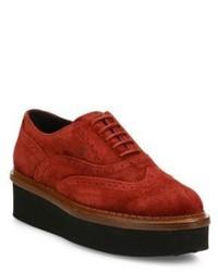 Zapatos oxford de ante rojos
