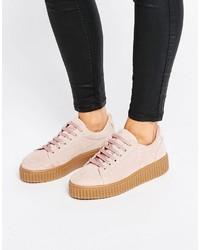 Zapatos oxford de ante rosados