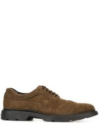 Zapatos oxford de ante verde oliva de Hogan