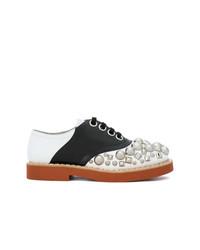 Zapatos oxford de cuero con adornos en multicolor de Miu Miu