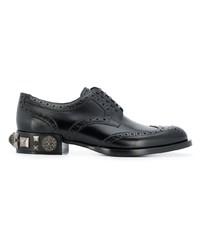 Zapatos oxford de cuero con tachuelas negros de Dolce & Gabbana