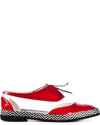 Zapatos oxford de cuero en blanco y rojo de Pollini