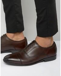 Zapatos oxford de cuero en marrón oscuro de Base London