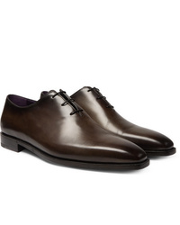 Zapatos oxford de cuero en marrón oscuro de Berluti