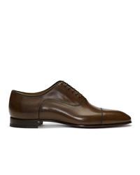 Zapatos oxford de cuero en marrón oscuro de Christian Louboutin