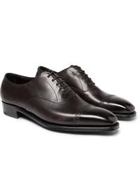 Zapatos oxford de cuero en marrón oscuro de George Cleverley