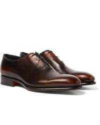 Zapatos oxford de cuero en marrón oscuro de Santoni
