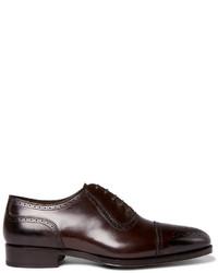 Zapatos oxford de cuero en marrón oscuro de Tom Ford