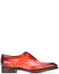 Zapatos oxford de cuero en tabaco de Santoni