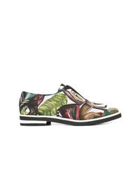 Zapatos oxford de cuero estampados en multicolor de Oscar de la Renta