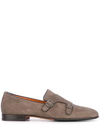 Zapatos oxford de cuero grises de Santoni