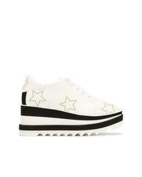 Zapatos oxford de cuero gruesos en blanco y negro de Stella McCartney