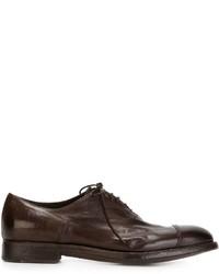 Zapatos Oxford de Cuero Marrón Oscuro de Alberto Fasciani