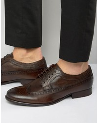 Zapatos Oxford de Cuero Marrón Oscuro de Base London