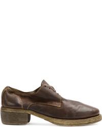 Zapatos Oxford de Cuero Marrón Oscuro de Guidi