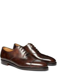 Zapatos Oxford de Cuero Marrón Oscuro de John Lobb