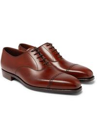 Zapatos oxford de cuero marrónes de George Cleverley
