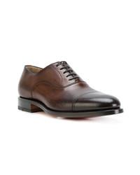 Zapatos oxford de cuero marrónes de Santoni