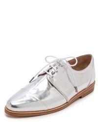 Zapatos oxford de cuero plateados