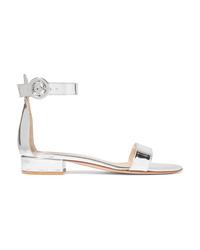 Zapatos oxford de cuero plateados de Gianvito Rossi