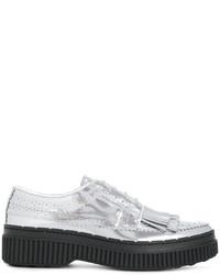 Zapatos oxford de cuero plateados de Tod's