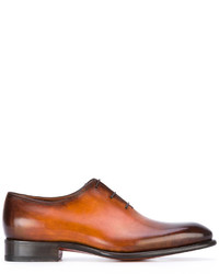 Zapatos Oxford de Cuero Tabaco de Santoni